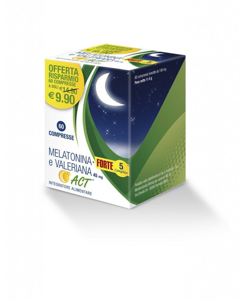 Linea ACT, integratore alimentare, linea sonno, disturbi del sonno, estratti naturali, MELATONINA+ FORTE 5 COMPLEX E VALERIANA ACT®