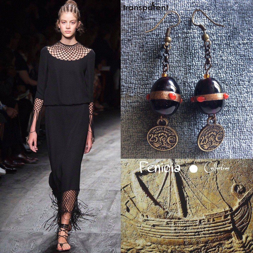 Transparent Sculptural Jewelry, gioielli handmade di Marta Roura, Fenicia Collection. Orecchini con perle e monete