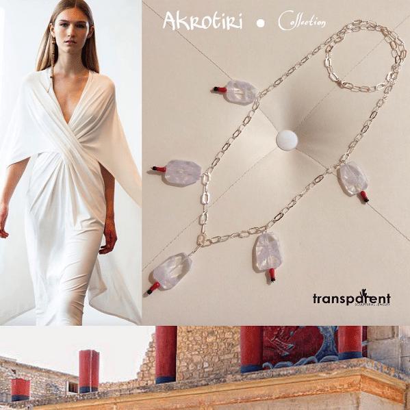 Transparent Sculptural Jewelry, gioielli handmade di Marta Roura Akrotiri Collection. Collana con agata ispirata alla Creta minoica