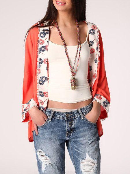 Kimono floreali, rosso papavero per lo stile boho e causal