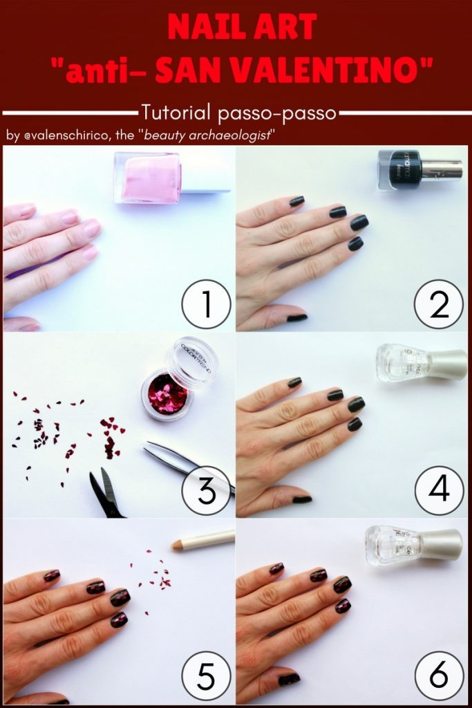 """Nail art """"anti-San Valentino"""" con tutorial passo-passo pinnabile di Valentina Chirico"""