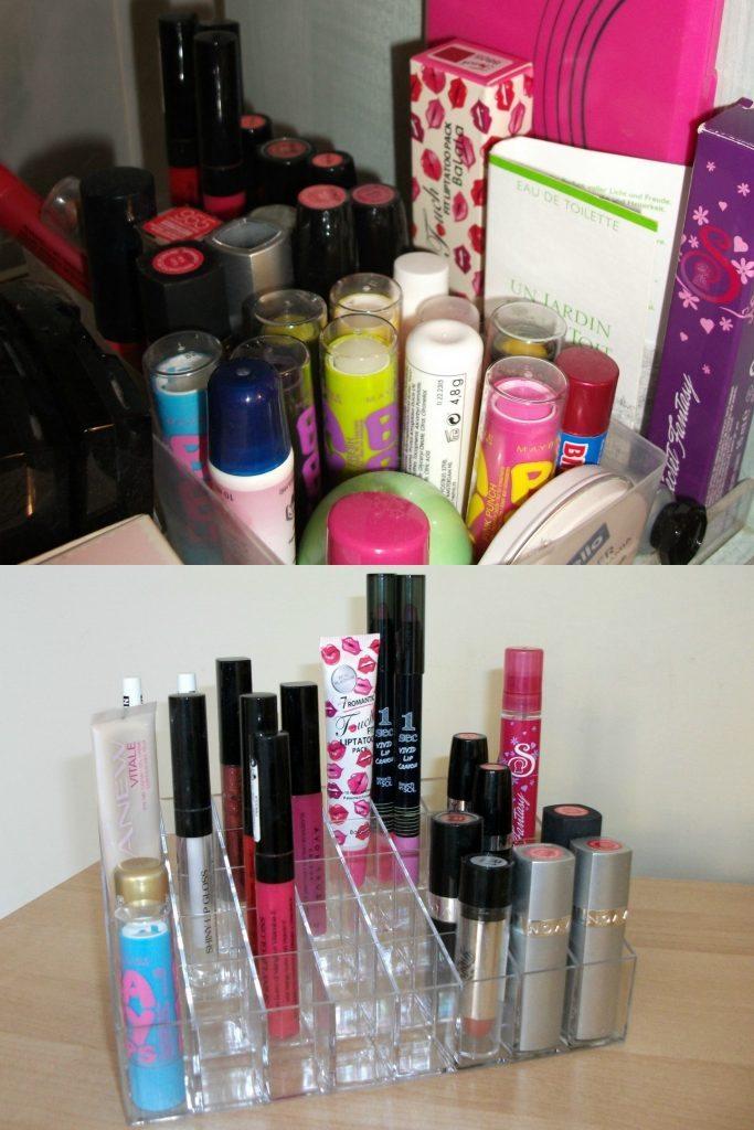 Organizzazione postazione trucco e rossetti prima e dopo. Soluzione fai da te e l'organizer per il make-up