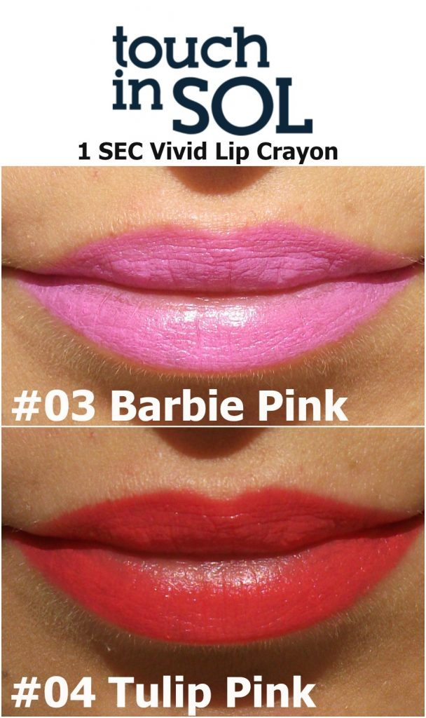 Touch in Sol One Second Vivid Lip Crayon in #4 Tulip Pink and #3 Barbie Pink (review e swatch a cura di Valentina Chirico)