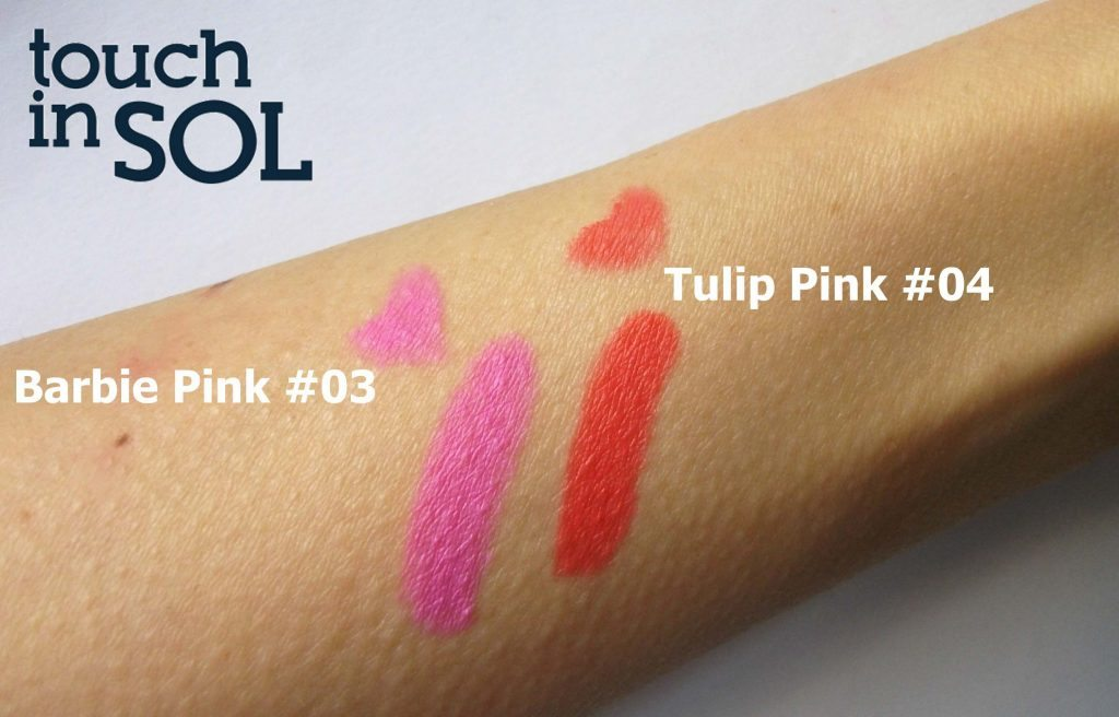 Touch in Sol One Second Vivid Lip Crayon in #4 Tulip Pink and #3 Barbie Pink, swatches a cura di Valentina Chirico (luce indiretta)