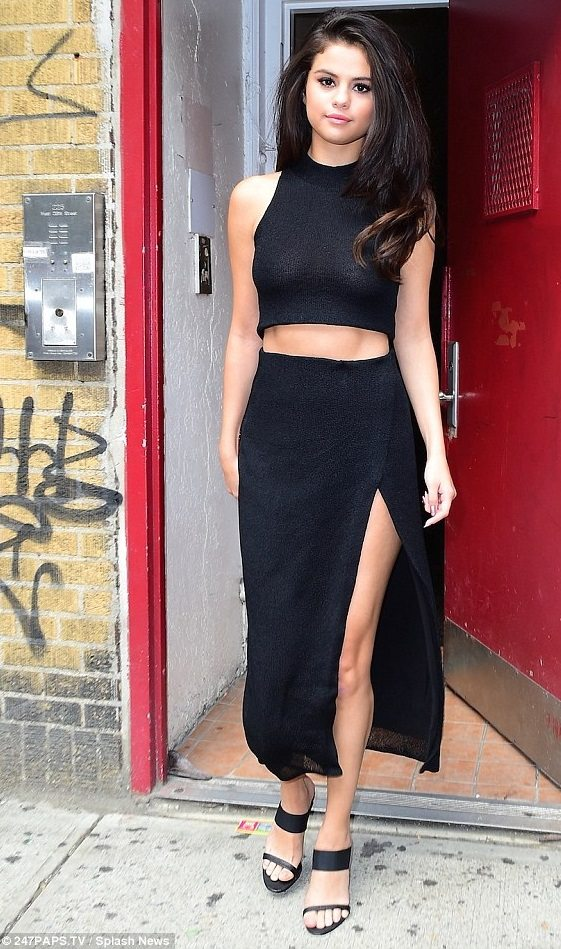 selena-gomez-black-crop-top-dress